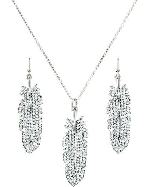 Montana Silversmiths Women's Shimmering Feather Jewelry Set, Silver, hi-res