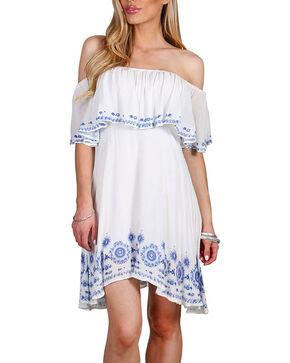 HYFVE Women's Floral Off the Shoulder Dress, White, hi-res