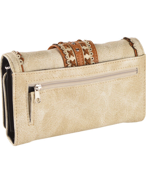 Wear N.E. Wear Women's Beige Buckle Organizer Wallet Crossbody Bag, Beige/khaki, hi-res