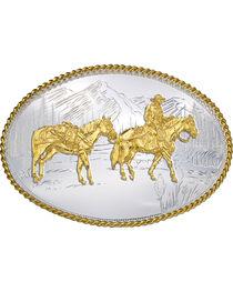 Montana Silversmiths Oval Pack Horse Belt Buckle, , hi-res