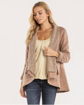 Miss Me Women's Marled Draping Cardigan, Brown, hi-res
