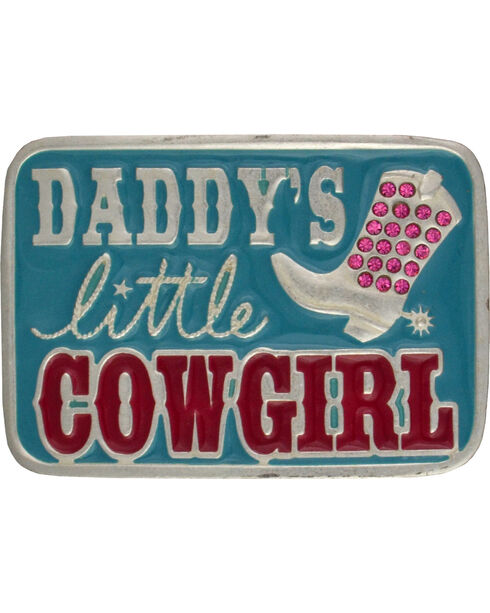 "Montana Silversmiths ""Daddy's Little Cowgirl"" Kid's Attitude Belt Buckle, Blue, hi-res"