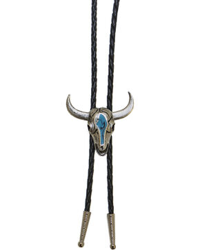 Western Express Men's Steer Head Turquoise Enamel Bolo Tie, Silver, hi-res
