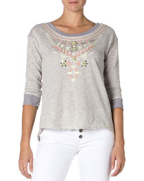 Miss Me Embroidered Grey 3/4 Sleeve Top , , hi-res