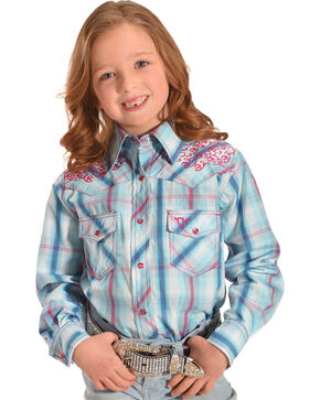 Cowgirl Hardware Girls' Plaid Filigree Horse Long Sleeve Snap Shirt, Blue, hi-res