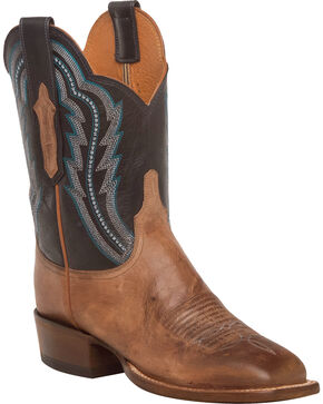 Lucchese Women's Daisy Tan Goat Leather Horseman Shortie Western Boots - Square Toe, Tan, hi-res