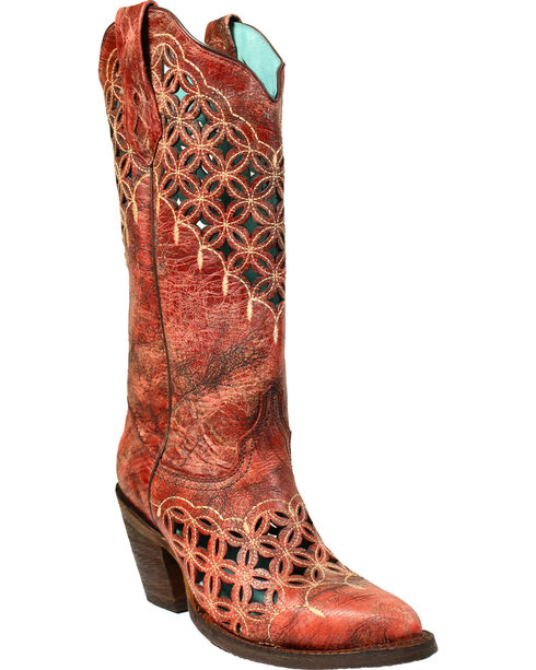 Corral Women's Cut Out Western Boots, Red, hi-res