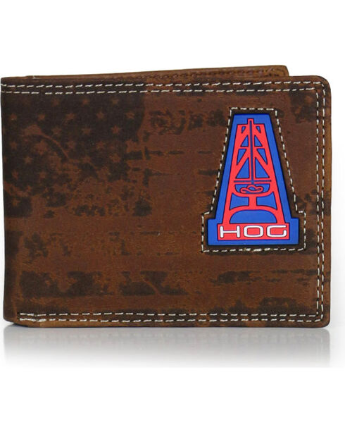 HOOey Men's Oil Gear Bi-Fold Wallet, Brown, hi-res