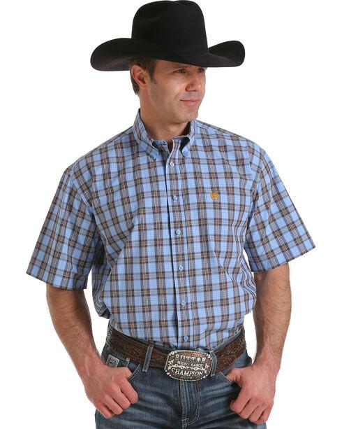Cinch Men's Multi-Colored Plaid Print Short Sleeve Shirt, Light Blue, hi-res
