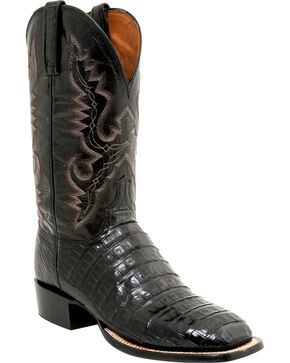 Lucchese Men's Caiman Tail Roper Boots - Square Toe, Black, hi-res