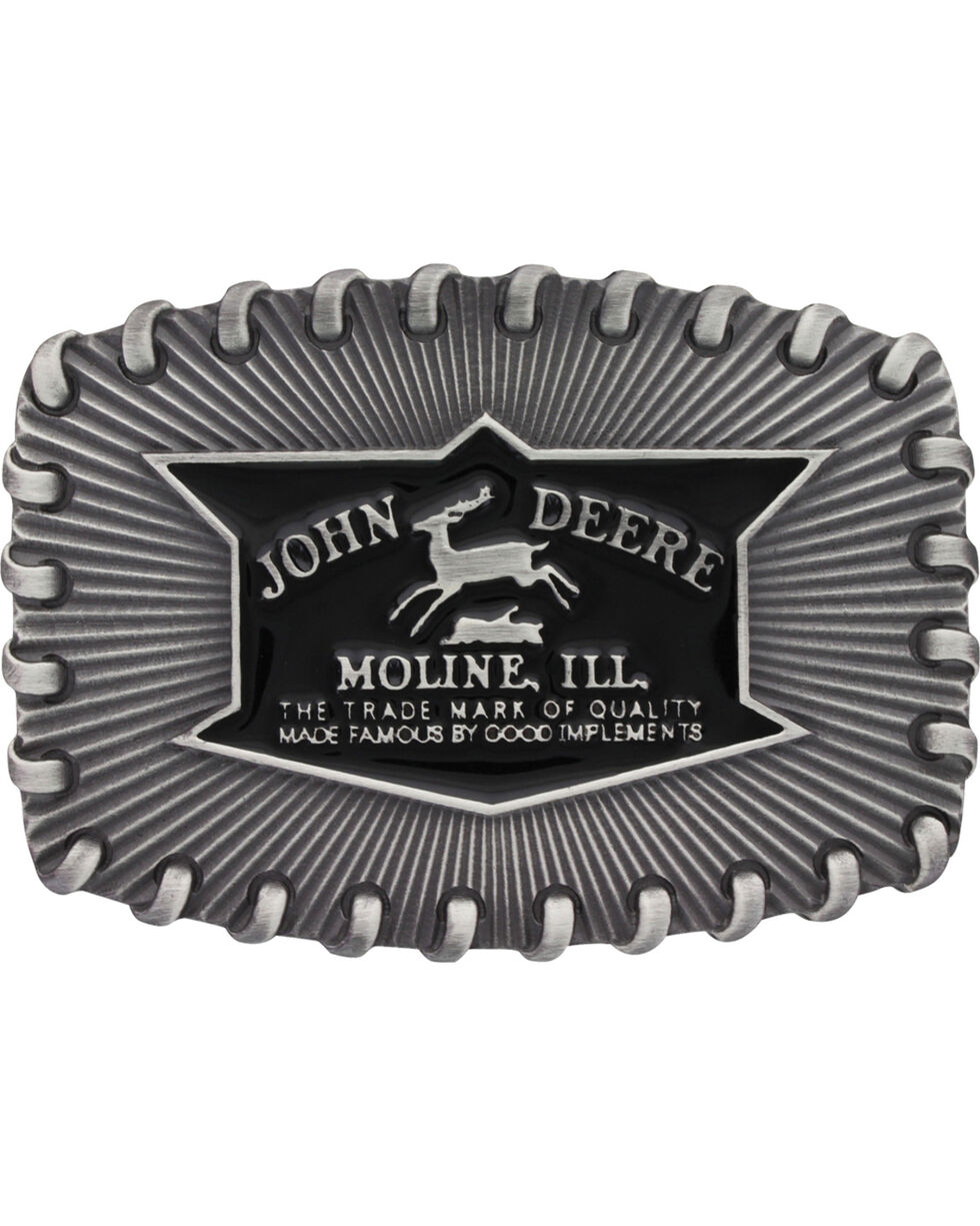 Montana Silversmiths Men's John Deere Whipped Stitch Edge Buckle , Silver, hi-res
