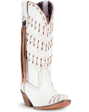 Laredo Women's Meredith Fringe Accented Western Boots, White, hi-res