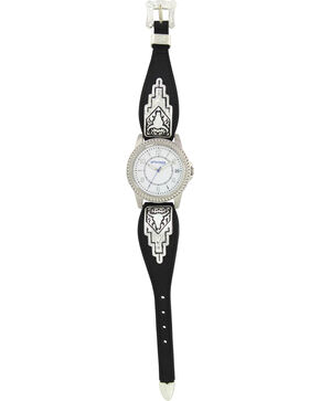 Montana Silversmiths Men's Black Leather Buffalo Skull Watch, Silver, hi-res