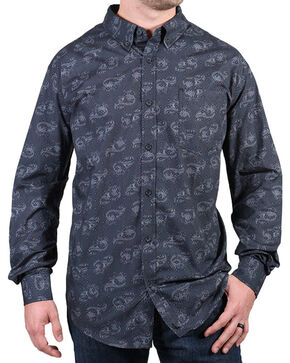 Cody James® Men's Paisley Patterned Long Sleeve Shirt, Grey, hi-res