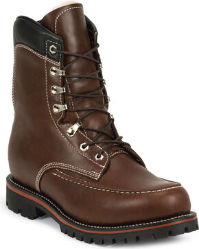 Chippewa Men's 1935 Original Kush N Kollar Mountaineer Boots - Moc Toe, Chocolate, hi-res
