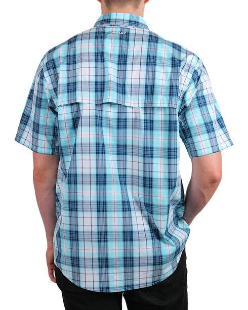 Ariat Men's Plaid Short Sleeve Shirt, Aqua, hi-res