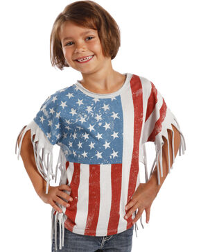 Rock & Roll Cowgirl Girls' Americana Fringe Tee, Print, hi-res