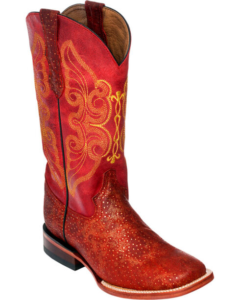 Ferrini Red Sparkle Cowgirl Boots - Square Toe, , hi-res