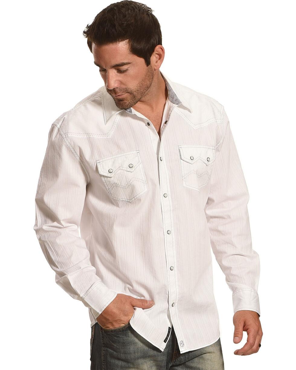 Moonshine Spirit® Men's Stripe Embroidered Long Sleeve Shirt, White, hi-res