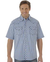 Wrangler 20X Men's Blue & White Plaid Two Pocket Short Sleeve Shirt , , hi-res