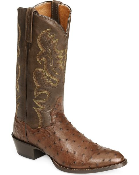 Dan Post Men's Full Quill Ostrich Western Boots, Tobacco, hi-res