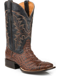 Roper Men's Caiman Belly Print Western Boots, Dark Brown, hi-res
