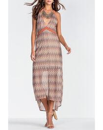 Miss Me Women's Brown Deep V-Neck Print Long Dress , , hi-res