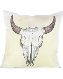 BB Ranch Longhorn Skull Throw Pillow, , hi-res