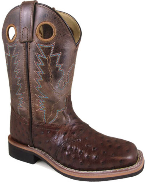 Smoky Mountain Boys' Brown Cheyenne Ostrich Print Boots - Square Toe , Brown, hi-res