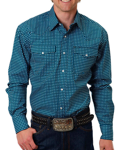 Roper Men's Teal Glass Long Sleeve Shirt, Teal, hi-res