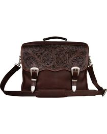 Smooth Leather with Floral Tooling Briefcase, Brown, hi-res