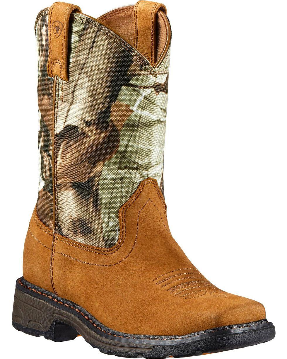 Ariat Kid's Workhog Work Boots, Bark, hi-res