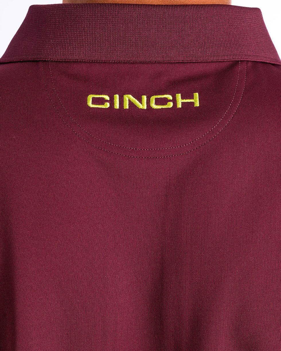 Cinch Men's ArenaFlex Burgundy Tech Polo, Burgundy, hi-res