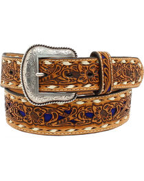 Nocona Women's Blue Floral Embossed Belt, , hi-res