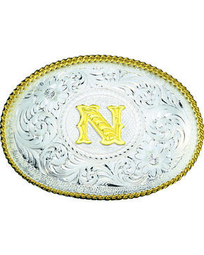Montana Silversmiths Engraved Initial N Western Belt Buckle, Multi, hi-res