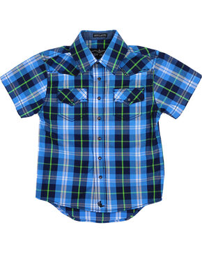 Cody James® Toddlers' Plaid Short Sleeve Shirt, Blue, hi-res
