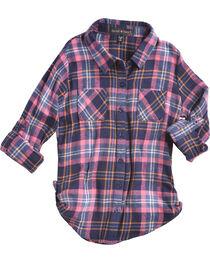 Derek Heart Girls' Blue/Pink Tab Sleeves Plaid Flannel Shirt, , hi-res