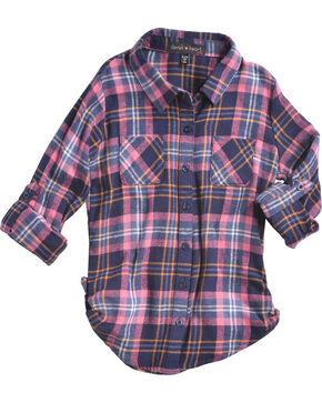 Derek Heart Girls' Blue/Pink Tab Sleeves Plaid Flannel Shirt, Blue, hi-res