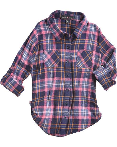 Derek Heart Girls' Blue/Pink Tab Sleeves Plaid Flannel Shirt, Blue, hi-res