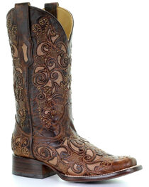 Corral Women's Embroidered Stud Inlay Western Boots, , hi-res