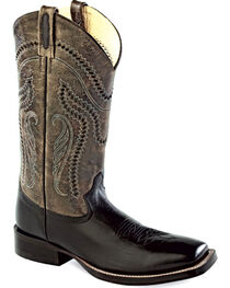 Old West Men's Charcoal Crackle Western Boots - Square Toe , , hi-res