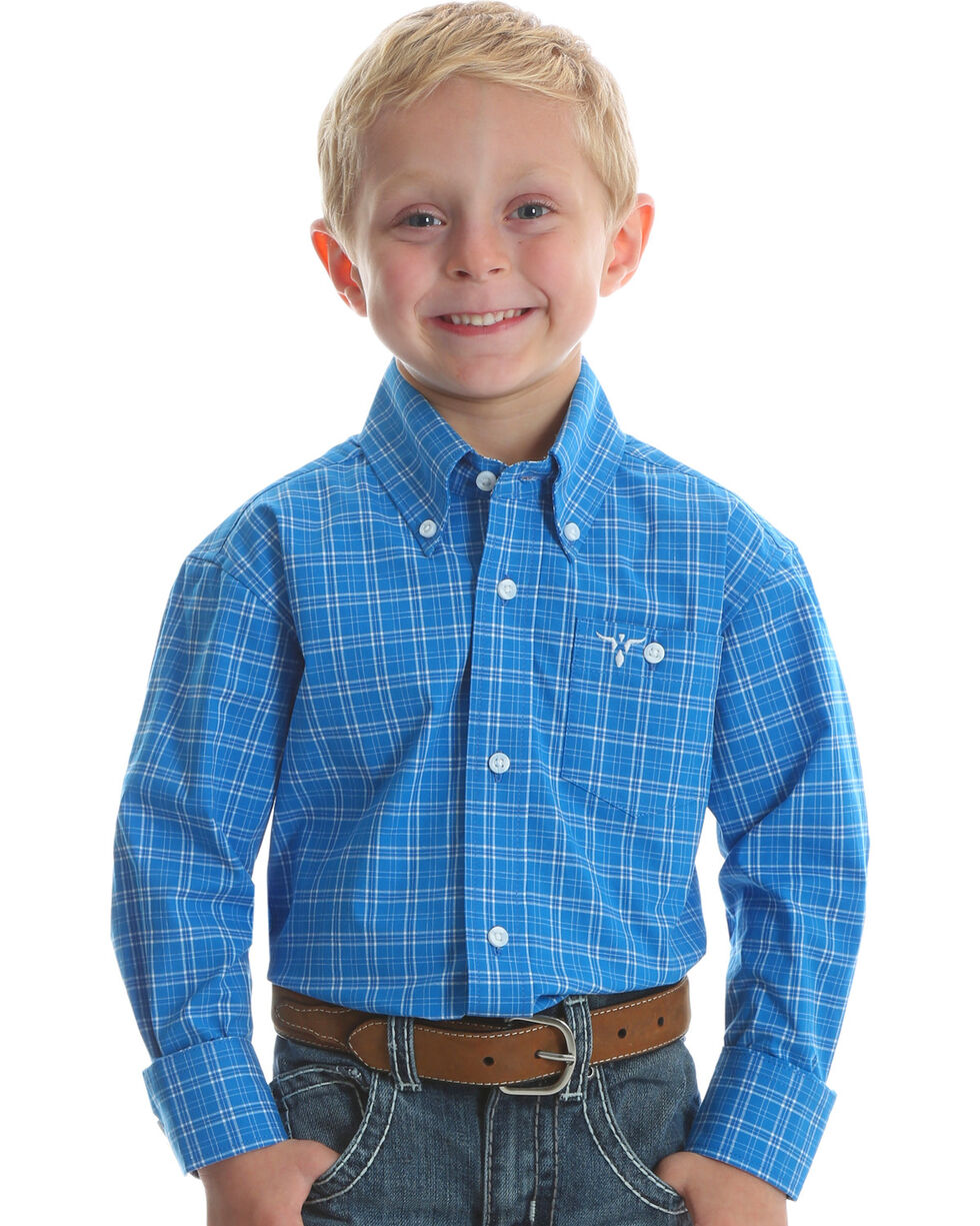 Wrangler Boys' Blue 20X Advanced Comfort Western Shirt , Blue, hi-res