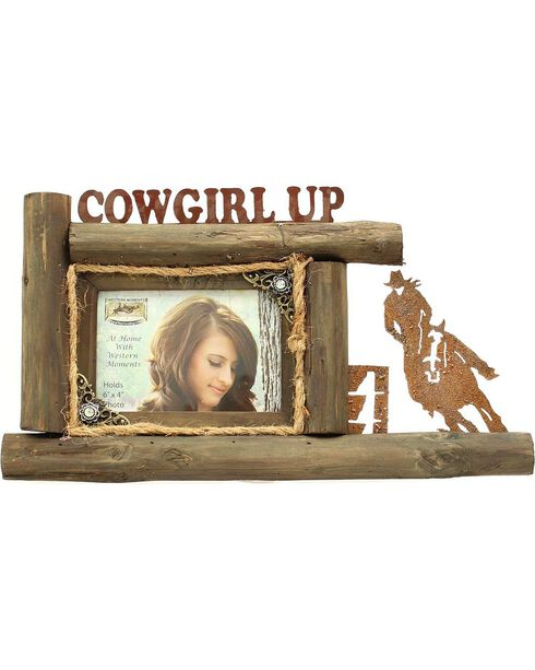 """Western Moments Cowgirl Up Wooden Log Photo Frame - 4"""" x 6"""", Brown, hi-res"""
