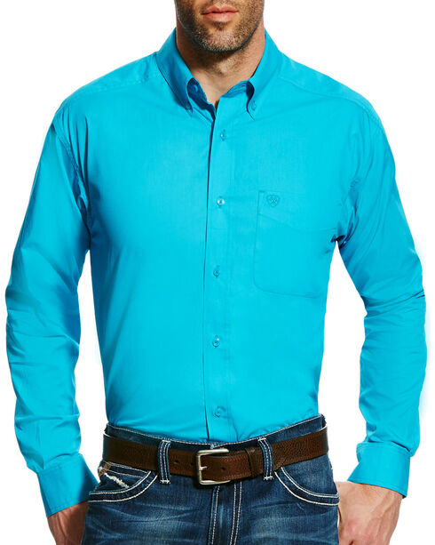 Ariat Men's Turquoise Solid Poplin Long Sleeve Shirt - Tall, Turquoise, hi-res