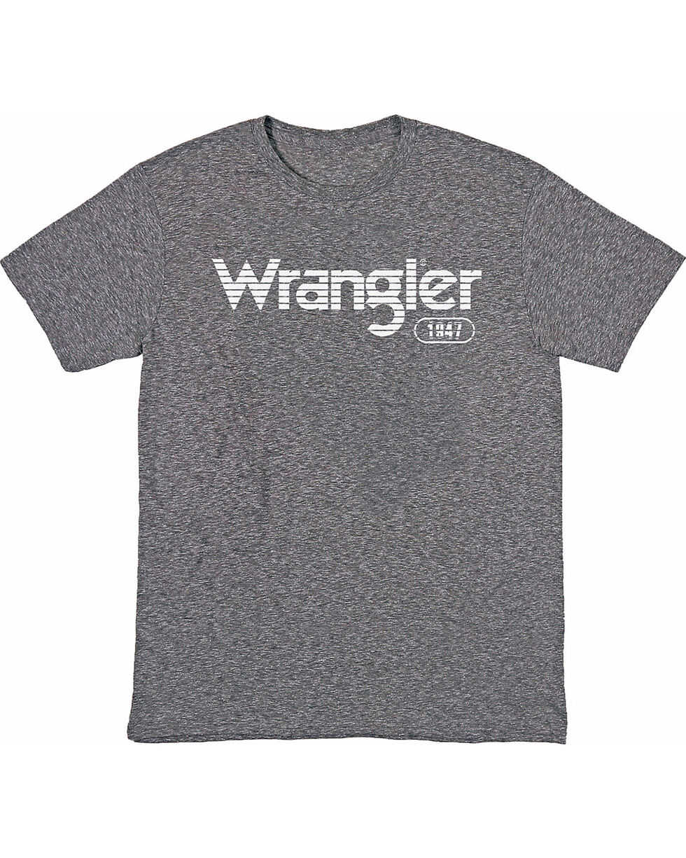 Wrangler Men's Grey Horizontal Stripe Logo Tee , Heather Grey, hi-res