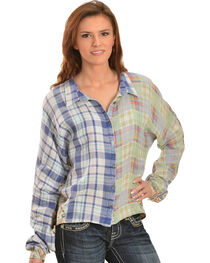 Miss Me Women's Mixed Media Plaid High-Low Top, , hi-res