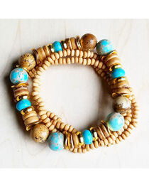 Jewelry Junkie Women's Multi-Strand Blue Regalite and Wood Bracelets, , hi-res