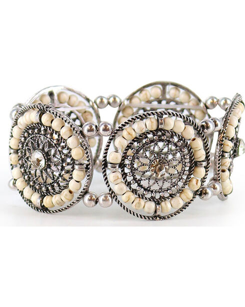 Shyanne® Women's Beaded Stretch Bracelet, Silver, hi-res