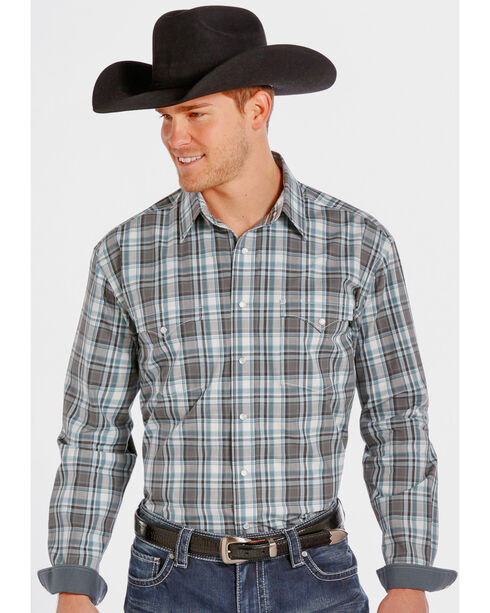 Rough Stock by Panhandle Slim Teal and Grey Plaid Western Snap Shirt , Multi, hi-res