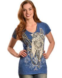 Liberty Wear Women's Denim Wash Wings and Chain T-Shirt , , hi-res